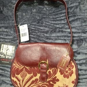 Aurielle vintage wine tapestry leather purse